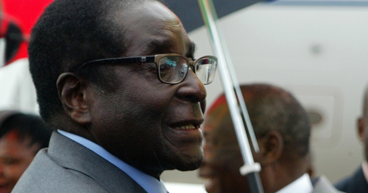 Zimbabwean President Robert Mugabe, 88, at Harare airport on his return to Zimbabwe on April 12, 2012. Mugabe's healthy appearance quashed rumors that he was deathly ill.</p>