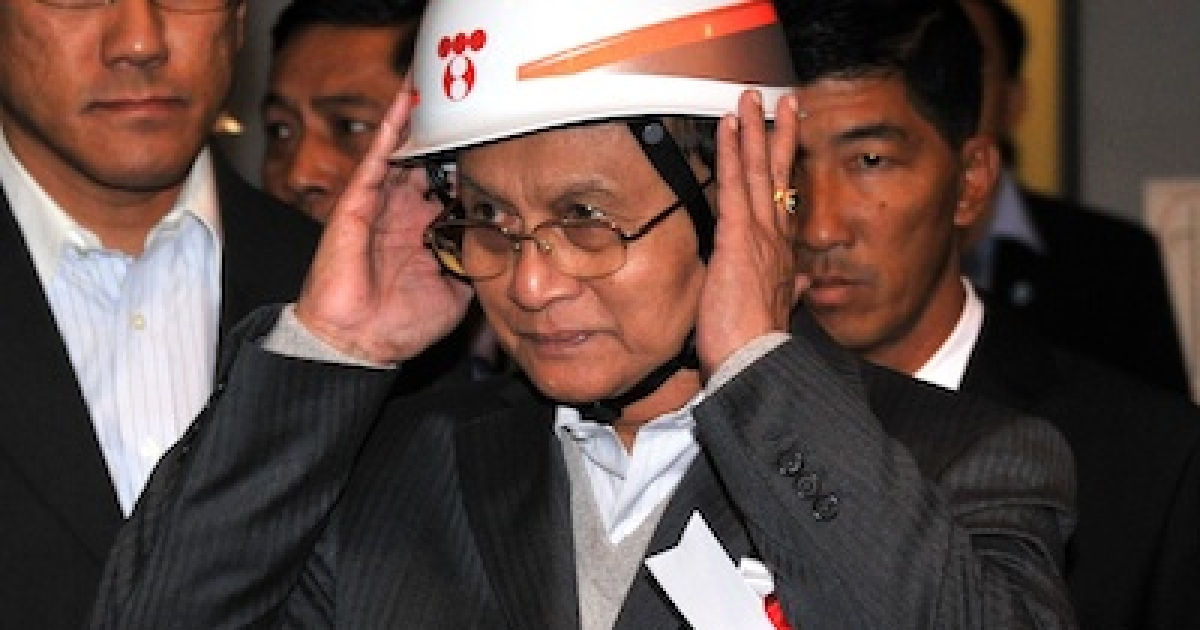 Myanmar's President Thein Sein visits a Japanese power plant on April 22, 2012.</p>