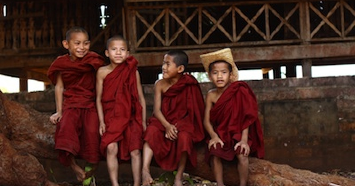 Novice monks in Myanmar's Shan State.</p>