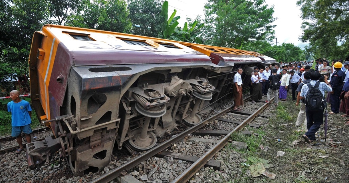 Myanmar's railways have a poor safety record after decades of neglect. This picture shows a train accident in Yangon in September 2011.</p>