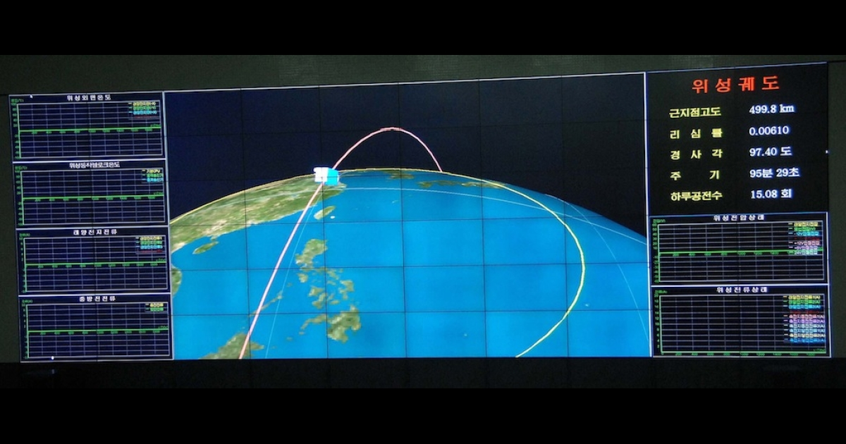 This picture received from North Korea's official Korean Central News Agency (KCNA) on December 12, 2012 shows an orbit image of the satellite Kwangmyongsong-3, being monitored on a large screen at a satellite control center in Cholsan county, North Pyongan province in North Korea. North Korea confirmed it had launched a long-range rocket and succeeded in its mission of placing a satellite into orbit.</p>