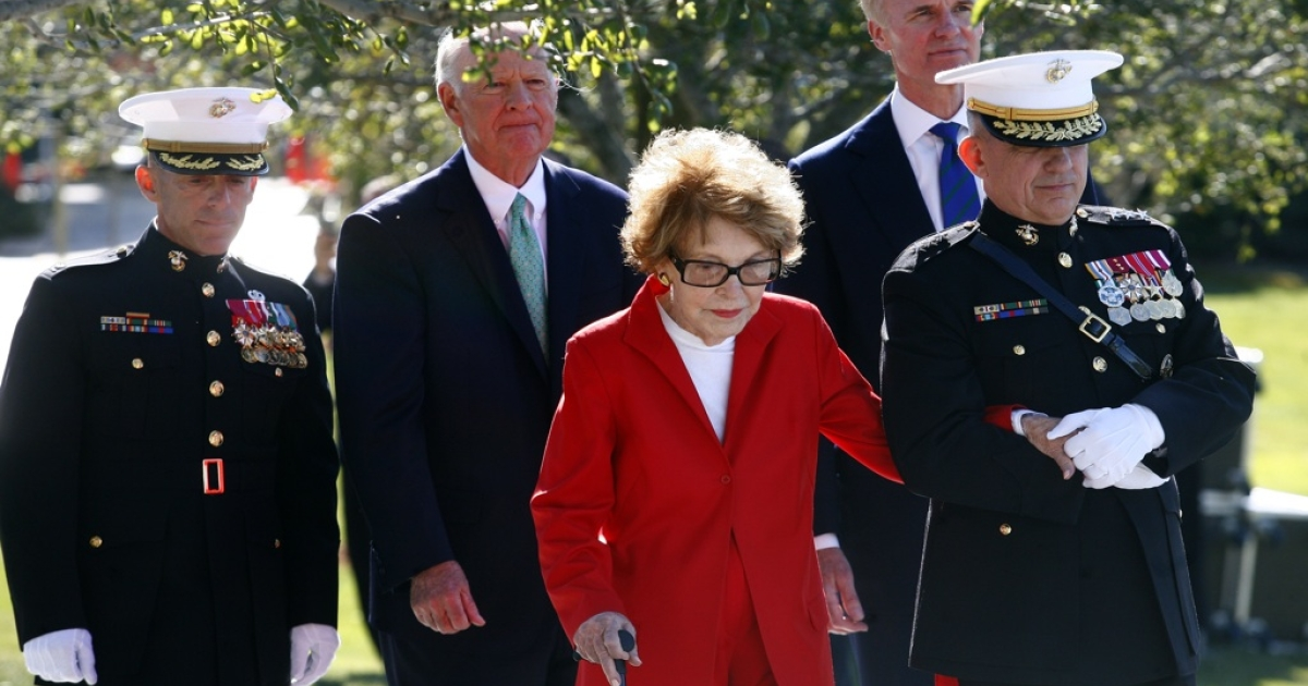Former first lady Nancy Reagan and former Secretary of State James Baker (2nd L) attend a celebration held in honor of Ronald Reagan's 100th birthday at the Ronald Reagan Presidential Library in Simi Valley, Calif., on February 6, 2011.</p>