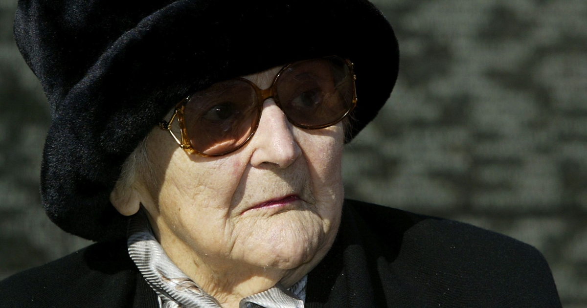 Nancy Wake, pictured March 2, 2004, sitting in front of the Australian war memorial during a ceremony at Hyde Park corner in London. The Australian World War II heroine — a prominent figure in the French Resistance was known as the