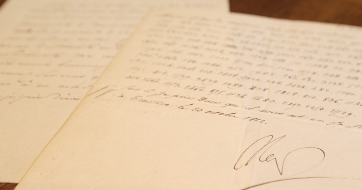 A photo taken in Paris shows a coded letter signed by French Emperor Napoleon Bonaparte. The document in which Napoleon Bonaparte vows to blow up the Kremlin will go under the hammer on Dec. 2012, 200 years after the French invasion of Russia.</p>