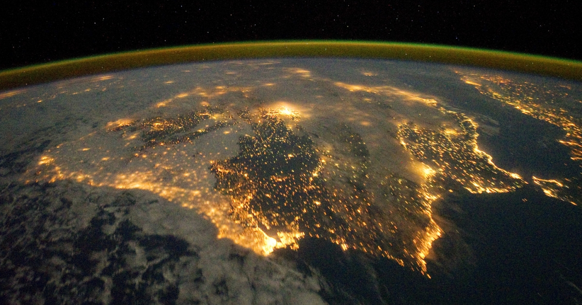 The Iberian Peninsula at night, as seen from the International Space Station.</p>
