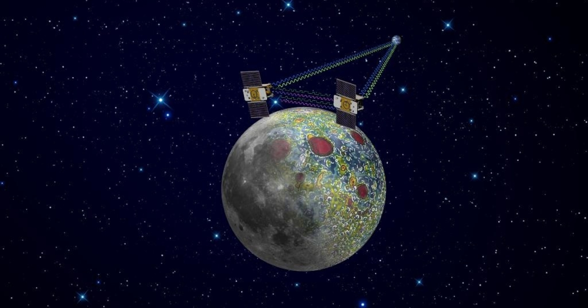 Using a precision formation-flying technique, the twin Grail spacecraft will map the Moon's gravity field, as depicted in this artist's rendering.</p>