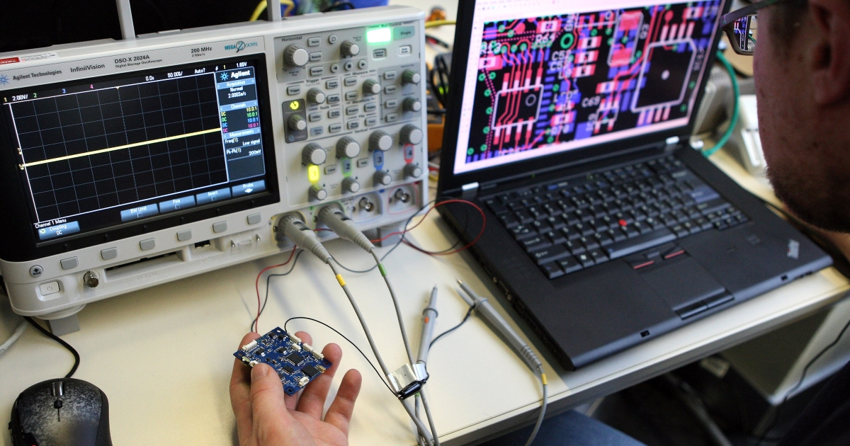 A particpant checks a circuit board next to an oscilloscope on the first day of the 28th Chaos Communication Congress (28C3) - Behind Enemy Lines computer hacker conference on December 27, 2011 in Berlin, Germany.</p>
