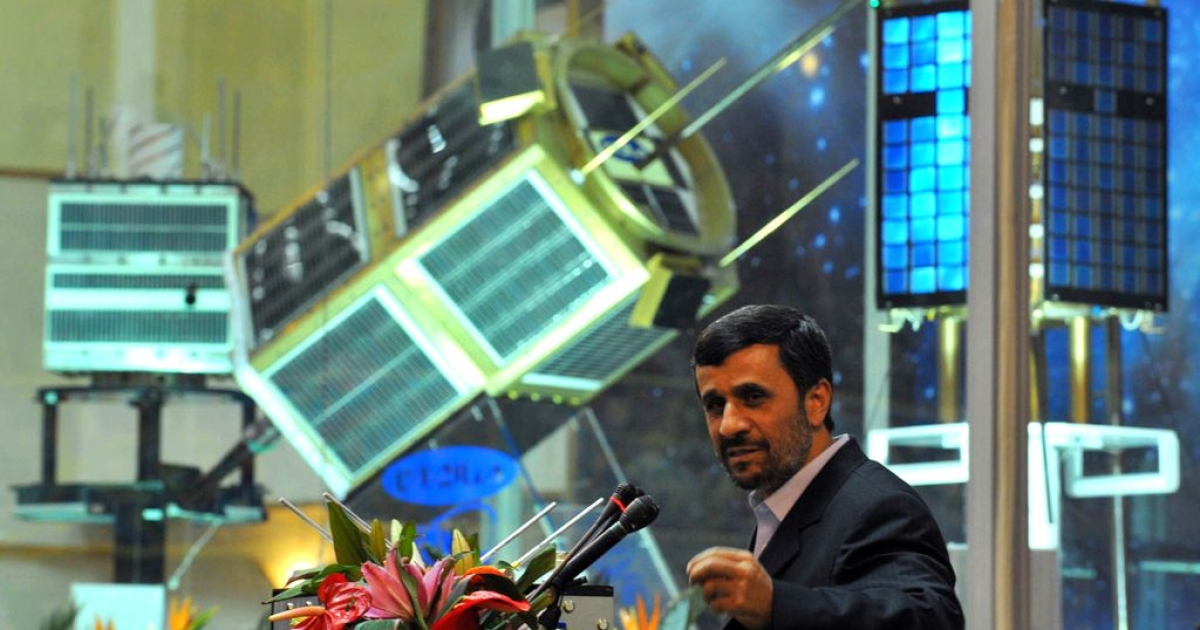 Iranian President Mahmoud Ahmadinejad speaks during the unveiling ceremony of new satellite rockets in Tehran on February 3, 2010.</p>