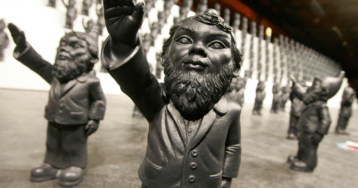 An art installation titled 'Dance of/with the Devil' by German artist Ottmar Horl, featuring hundreds of Nazi-saluting garden gnomes, forms part of the the Flanders Expo - LineArt Exhibition on December 5, 2008 in Ghent, Belgium.</p>