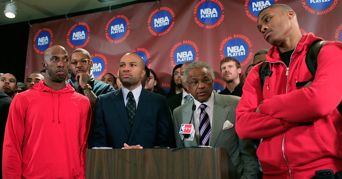 Billy Hunter, Executive Director of the National Basketball Players Association, and Derek Fisher, President of the National Basketball Players Association, speak at a press conference after the NBPA met to discuss the current contract offer on Nov. 14, 2011.</p>