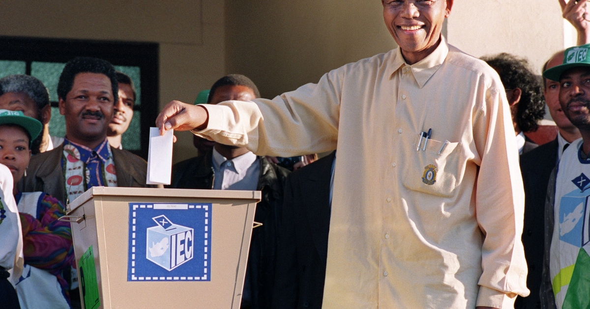 Mandela casts his vote in South Africa's first democratic and all-race general elections, April 27, 1994. The day is now celebrated in South Africa as Freedom Day.</p>