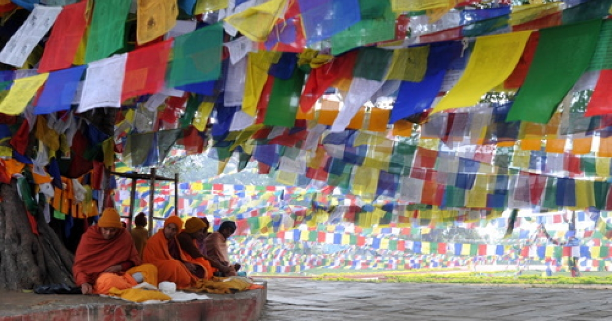Nepalese Buddhists monks pray outside the Mayadevi (Buddha's mother) temple, birth place of Lord Buddha, Lumbini 400 kms (250 miles) south west of Kathmandu on January 4, 2011.Lord Buddha was born in Lumbini.</p>