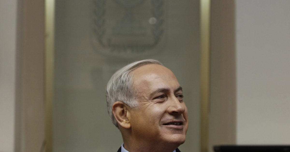 Israeli Prime Minister Benjamin Netanyahu attends the weekly cabinet meeting at his offices on Sept. 2, 2012 in Jerusalem, Israel.</p>