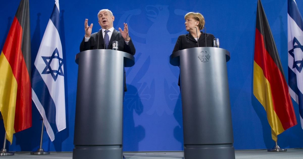 Israeli Prime Minister Benjamin Netanyahu and German Chancellor Angela Merkel attend a joint press conference at the Chancellery in Berlin, on December 6, 2012.</p>