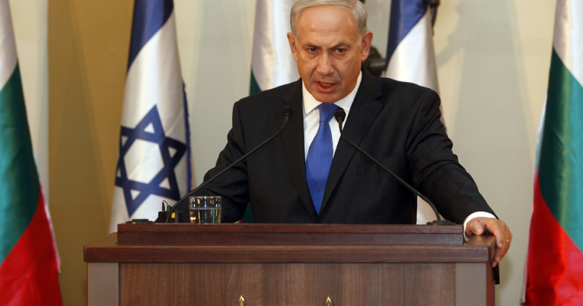 Israeli Prime Minister Benjamin Netanyahu gestures speaks during a joint press conference with his Bulgarian counterpart Boyko Borisov (not seen) in Jerusalem on September 11, 2012.</p>