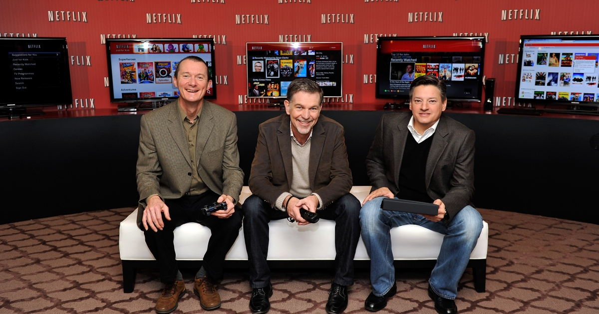 From left to right: Neil Hunt, Netflix Chief Product Officer; Reed Hastings, Netflix Co-Founder and CEO; and Ted Sarandos, Netflix Chief Content Officer, pose during the Netflix UK launch in London. Netflix launched in the United Kingdom and Ireland today.</p>