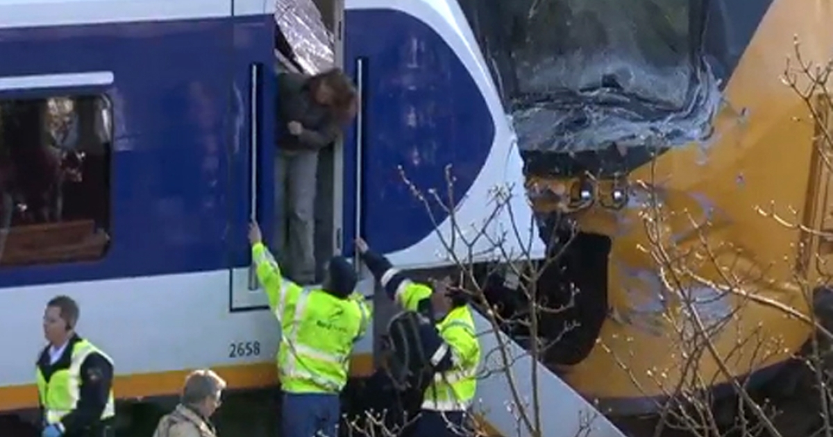 The point of today's collision is seen in this still image taken from video published by the Dutch news television broadcaster AT5.</p>