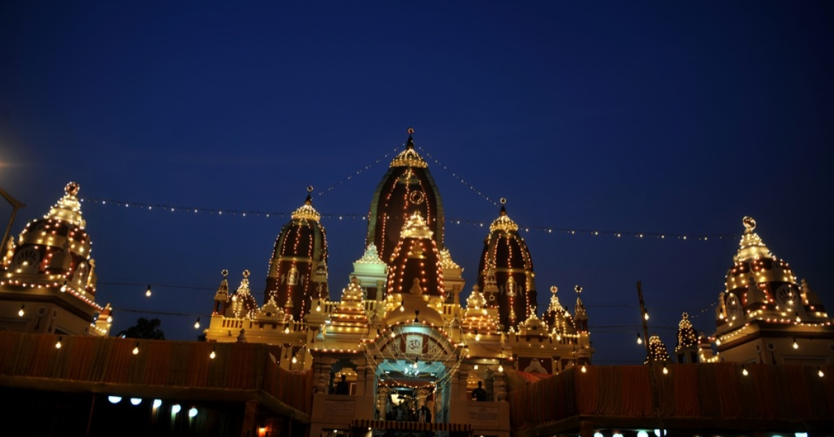The illuminated exterior of the Hindu Laxmi Narayan Temple is pictured in New Delhi on August 22, 2011.</p>