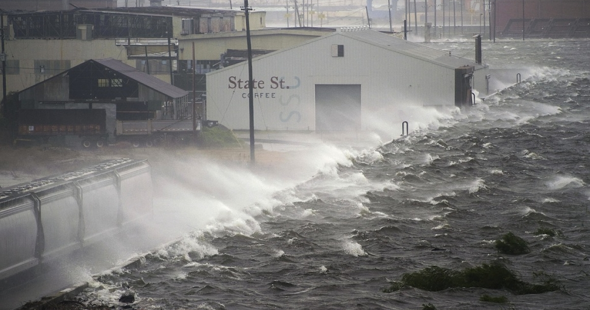 Water splashes over a levee in New Orleans, Louisiana, on Sept. 1, 2008, during Hurricane Gustav. At the time Gustav was a Category-Two hurricane.</p>