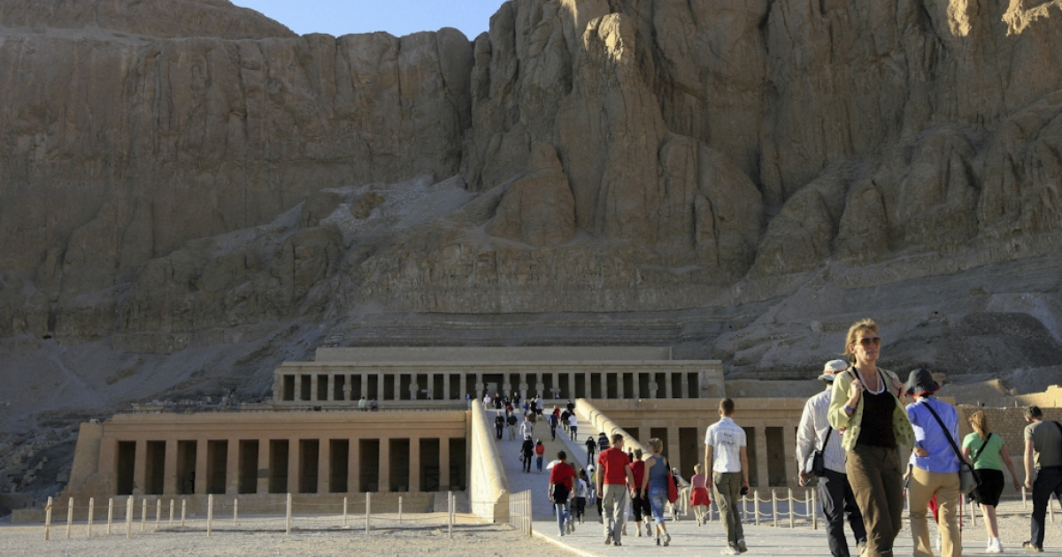 Tourists visit the Temple of Queen Hapshepsut at Deir el-Bahari in Luxor, Egypt.</p>
