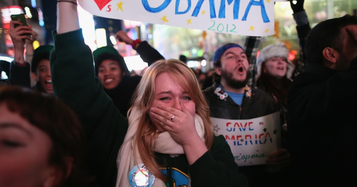 Jessica Clark, 18, reacts in Times Square as television networks call the election in favor of President Barack Obama on November 6, 2012 in New York City.</p>