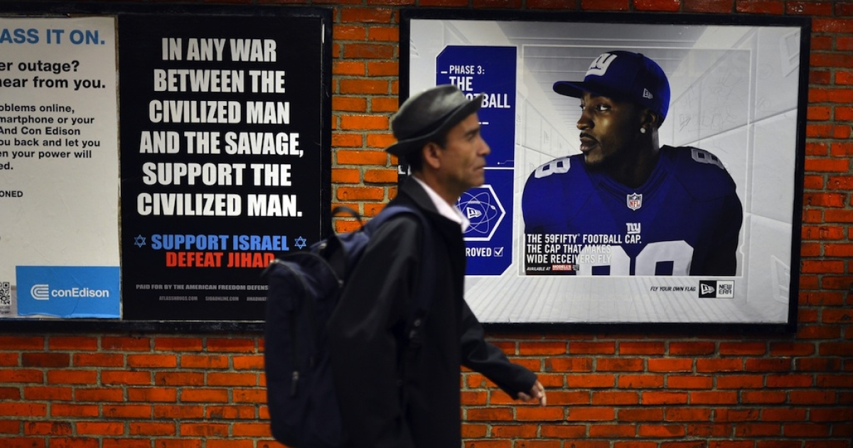 An ad in New York Subway saying, 'In any war between the civilized man and the savage, support the civilized man. Support Israel. Defeat Jihad' in New York City on Sept. 24, 2012. The ad belongs to the American Freedom Defense Initiative.</p>