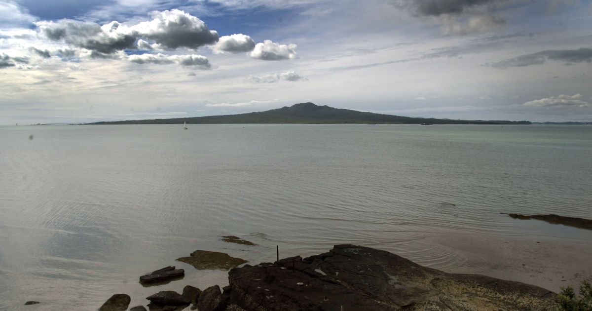 Rangitoto island as seen from North Head on Auckland's North Shore. Mount Tongariro, on New Zealand's North Island, erupted late Sunday night, spewing volcanic ash.</p>