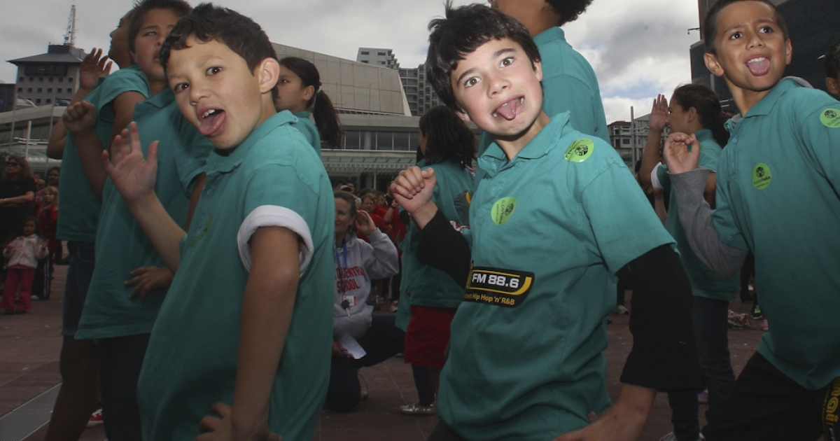 School children and members of the public participate in the 'Superhaka for Christchurch' in support of the victims of the Christchurch earthquake at Aotea Square on May 19, 2011 in Auckland, New Zealand. Members of the public participated in the traditional Maori dance to show support for the victims of the Christchurch earthquake that hit the South Island on February 22 of this year.</p>