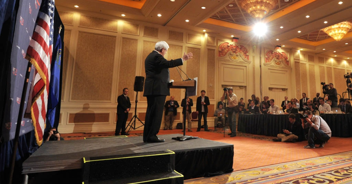 Republican presidential hopeful Newt Gingrich speaks at a press conference Saturday after results of the Nevada caucus were released in Las Vegas.</p>