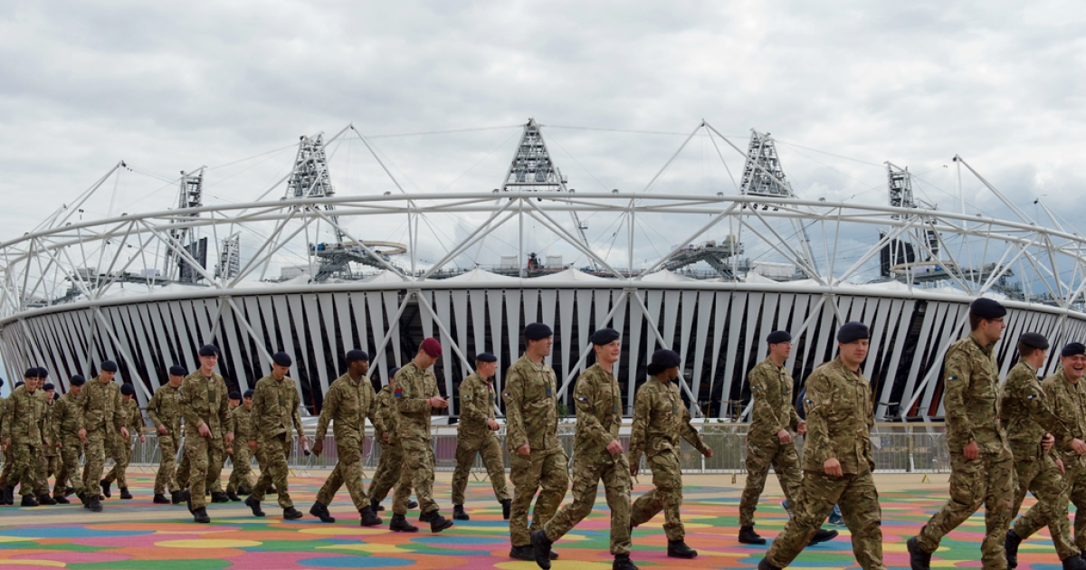 Members of the Armed Forces are shown around the site of the London 2012 Olympics in east London on July 15, 2012.  Following the failure of contracted security firm G4S to provide the 10,000 trained security for the events, the Armed Forces have been drafted in to assist with security operations.  The G4S group yesterday admitted that they will be funding the cost of this coverage and are set to make a loss of up to £50million on the contract.</p>