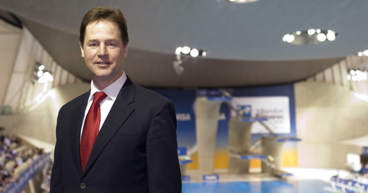 Deputy Prime Minister, Nick Clegg, poses for a photo as he meets staff and volunteers working at the 18th FINA Visa Diving World Cup, taking place at the Aquatics Centre on the Olympic Park, on February 22, 2012 in London, England. The event formed part of the London Prepares series which will allow the London 2012 Organising Committee to test crucial aspects of its operations in preparation for the 2012 Games.</p>