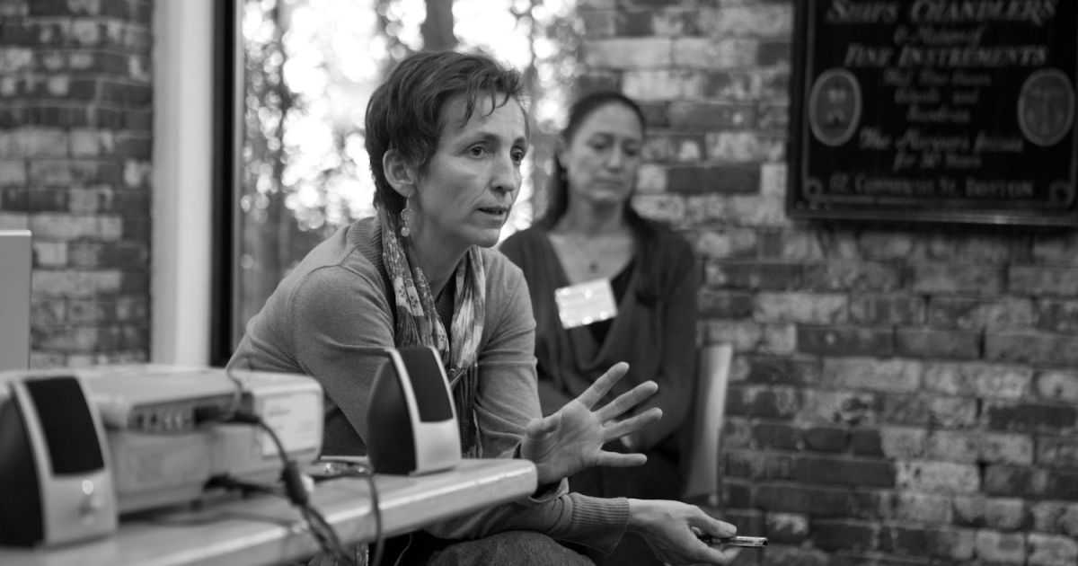 Stephanie Friedhoff speaks at a panel on global health journalism.</p>