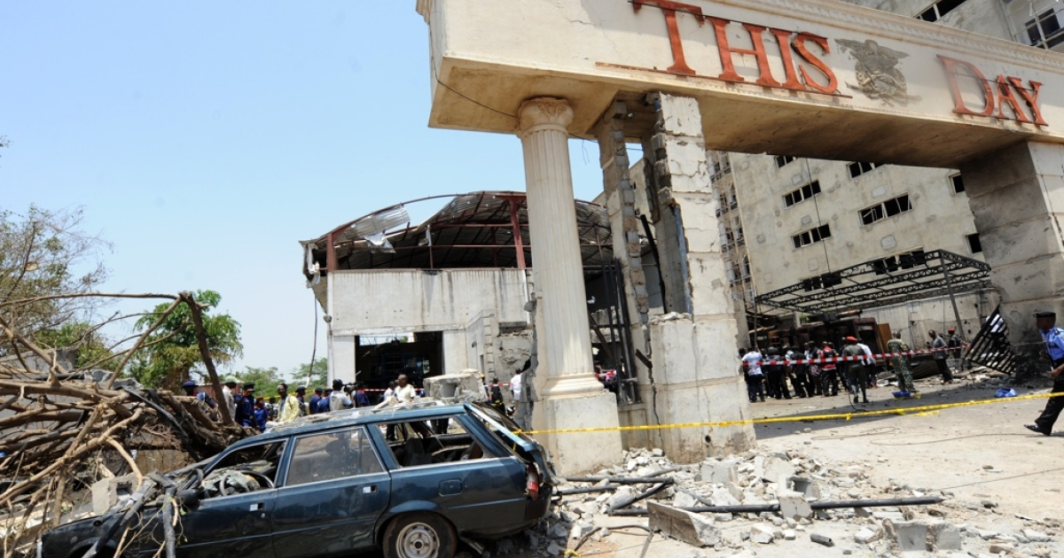The destruction at Nigeria's ThisDay newspaper offices in Abuja which were bombed on April 26, 2012. The suicide bomber killed two security guards and injured  five of the company's support staff. Bomb blasts targeting newspaper offices in Nigeria's capital and the northern city of Kaduna killed nine people.</p>