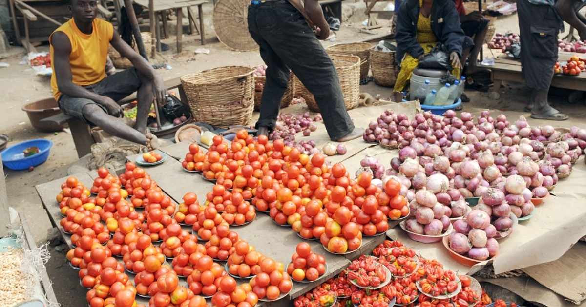 Nigerian vendors display their vegetables for sale at Mile 12 market in Lagos on January 14, 2012.</p>
