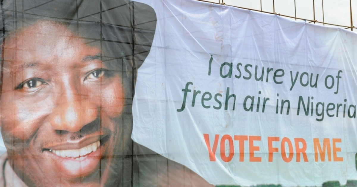 A banner showing Nigeria's President Goodluck Jonathan is pictured at the start of his presidential campaign at the Lafia Township Stadium in the north central town of Lafia, Nasarawa State, on February 7, 2011. The election will be on April 2.</p>