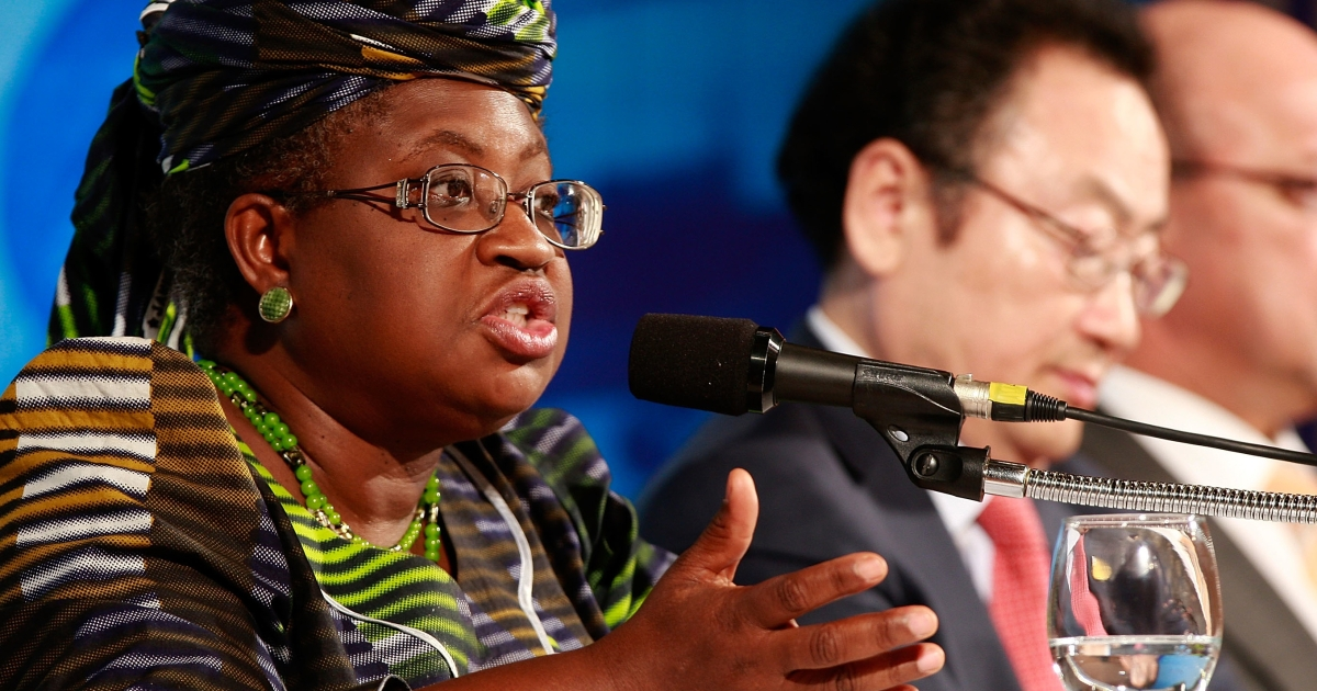Current Nigerian Finance Minister Ngozi Okonjo-Iweala speaks at the G-20 Financial Ministers and Central Governors meeting in South Korea as co-managing director of the World Bank on June 4, 2010.</p>