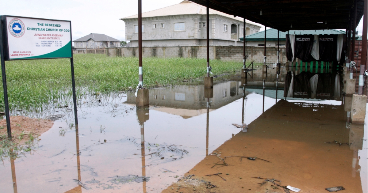 A church is submerged by floods at Sparklight Estate, Ogun State, on Lagos -Ibadan highway on October 23, 2011.</p>