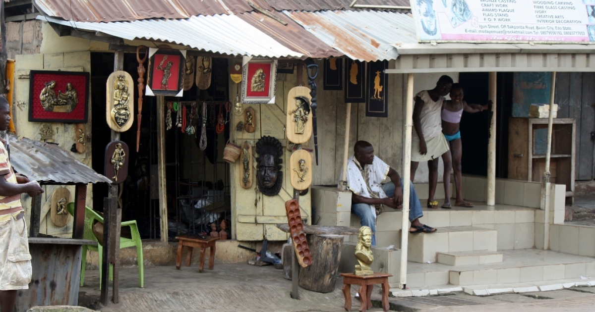 Local artists run shops like this in Benin City that have been in their families for generations.</p>