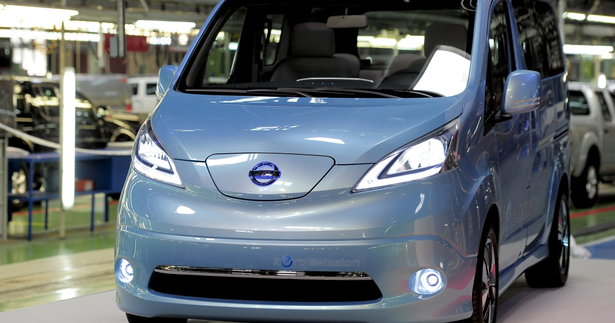 Japanese automaker Nissan's new e-NV200 model in their plant in Barcelona on May 23, 2012. The e-NV200 will become Nissan's second all-electric vehicle (EV) and will be produced at the Barcelona plant exclusively.</p>