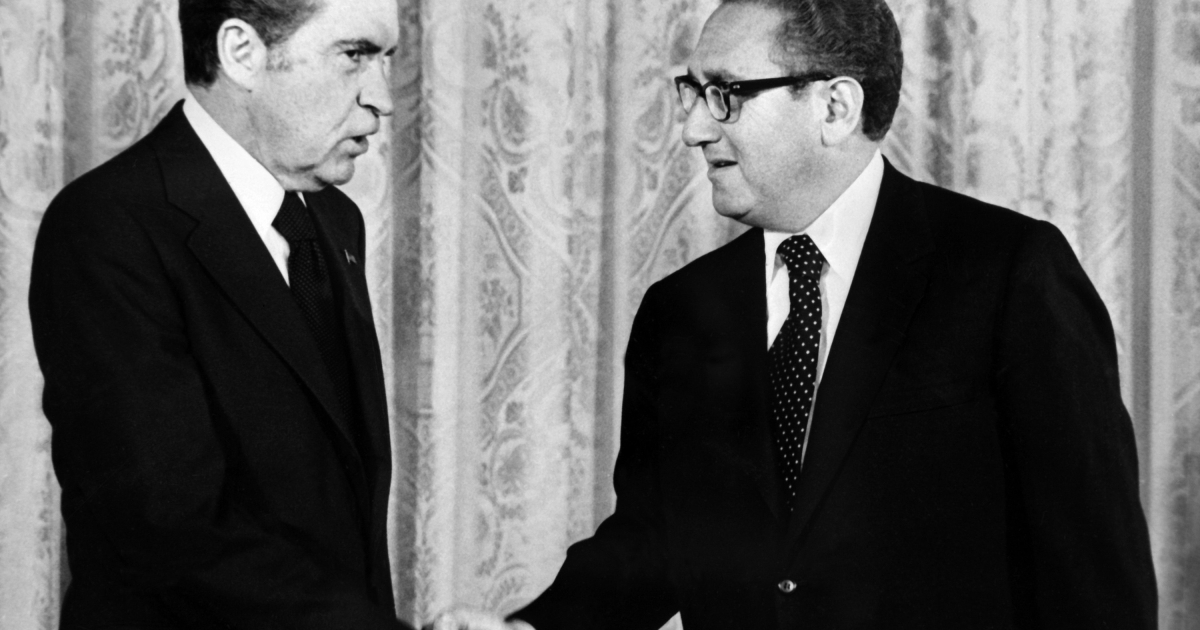 The Nixon Presidential Library and Museum has released the final installment of the Nixon tapes. President Richard Nixon (L) shakes hands with trusted advisor Henry Kissinger, Secretary of State, in Washington, D.C. on Sept. 1, 1973.</p>