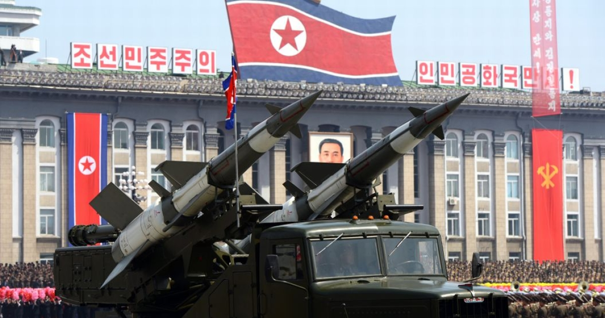 Missiles are displayed during a military parade to mark 100 years since the birth of the country's founder Kim Il-Sung in Pyongyang on Apr. 15, 2012.</p>