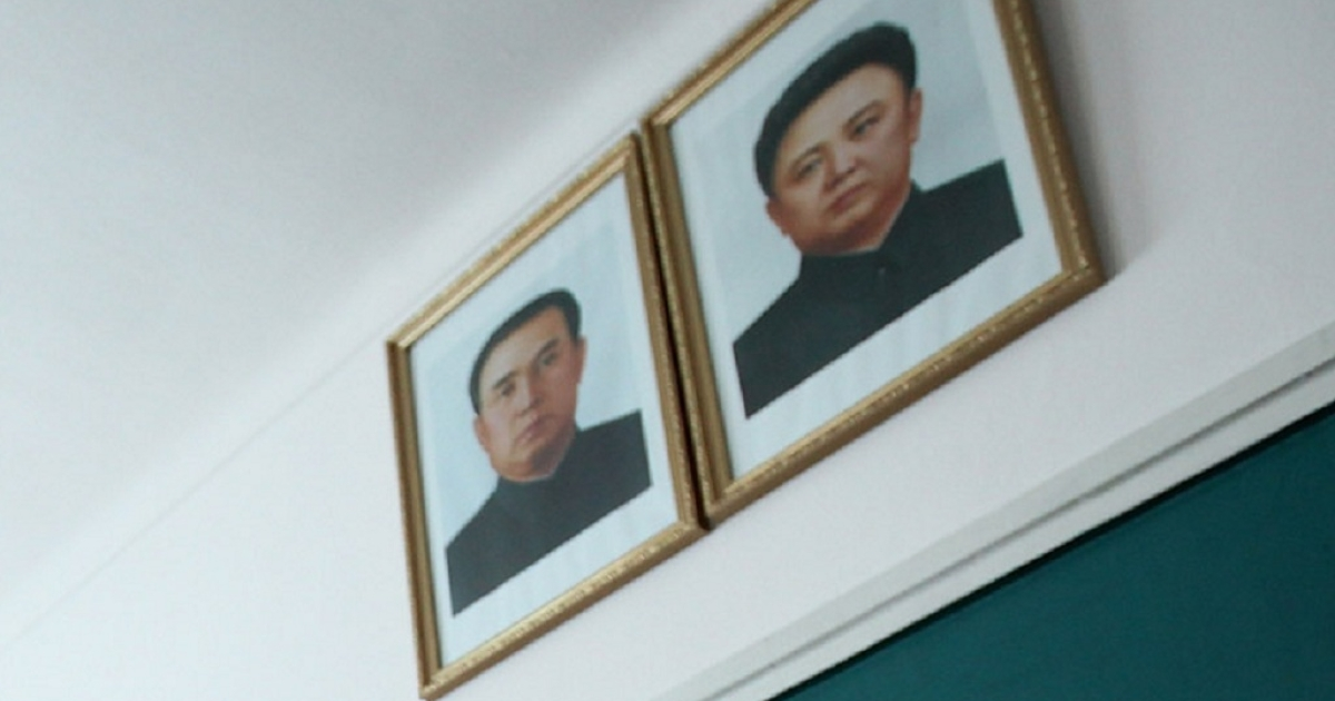 Images of North Korea's founding father Kim Il-Sung and his son Jong-Il are hung in homes, offices and public buildings across North Korea.</p>
