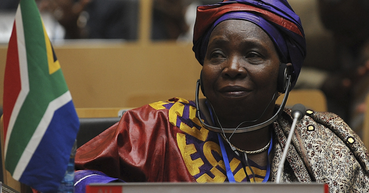 South African Home Affairs Minister Nkosazana Dlamini-Zuma attends the African Union summit on July 15, 2012 in Addis Ababa. Dlamini-Zuma has been elected the new AU leader over incumbent Jean Ping of Gabon.</p>