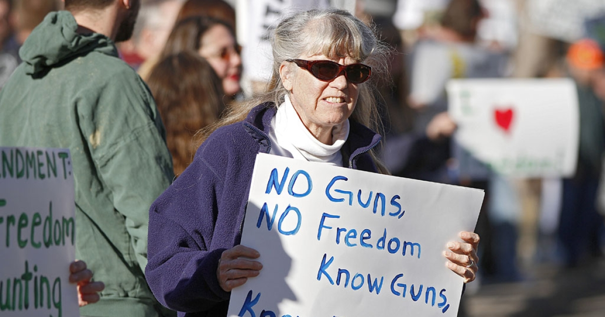 Second Amendment supporter Theresa White of Estes Park, Colorado gathers with other activists in support of gun ownership on January 9, 2013 at the Colorado State Capitol in Denver, Colorado.</p>