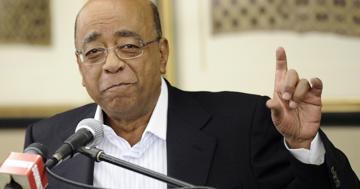 Sudanese-born billionaire Mo Ibrahim, founder of the Mo Ibrahim foundation gives a press conference on October 4, 2012 in Johannesburg to announce a one-off extraordinary award worth $1 million to Archbishop Desmond Tutu in recognition of his lifelong commitment to speak truth to power. Ibrahim said the award was not designed to replace his annual excellence in African leadership award, given to African leaders who peacefully step down from power.  Since 2006 the telecom mogul's foundation has tried to give one African a prize of $5 million, spread over 10 years, followed by an additional $200,00 a year for life. But due to stringent criteria, he has not always been successful.</p>