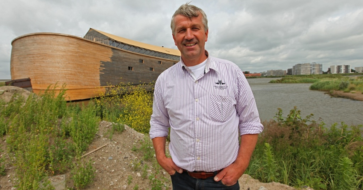 Dutch artist Johan Huibers poses next to the 150 metre-long Noah's ark he created at an old abandoned quay on the Merwede River in Dordrecht on June 21, 2011. For the last three years the quaint old Dutch city of Dordrecht have been watching in amazement as construction businessman Johan Huibers' dream of building a 150 metre-long Noah's ark, stocked with thousands of plastic animals, slowly grew into a reality.</p>