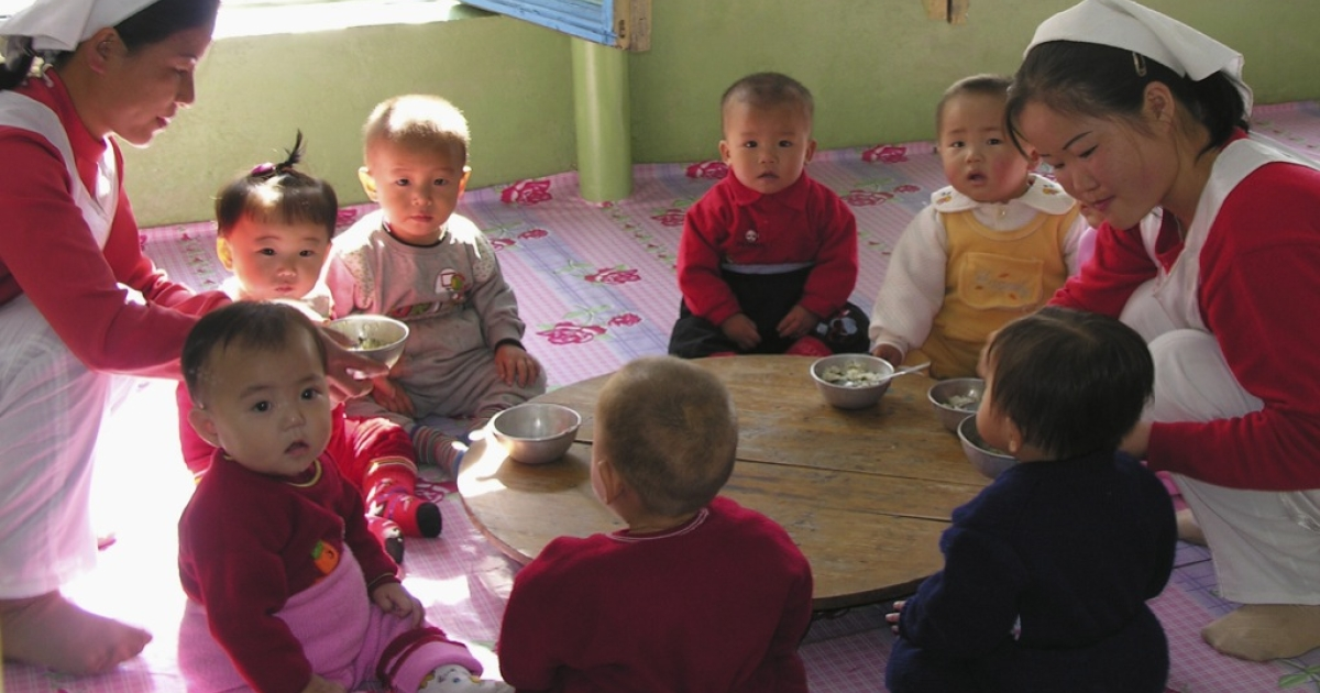 China is shipping rice to North Korea, where malnutrition for children is still high. Here, children attend a nursery with special food provided by the World Food Program in Pyongyang.</p>