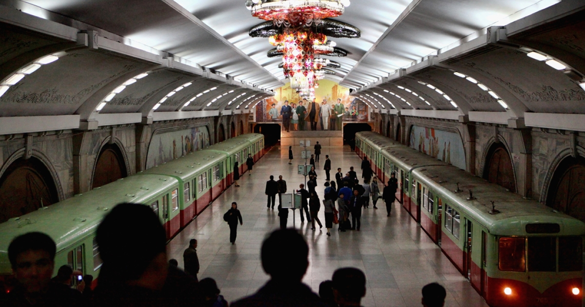 Puhung Subway station is also an atomic shelter, April 2, 2011 in Pyongyang, North Korea.</p>