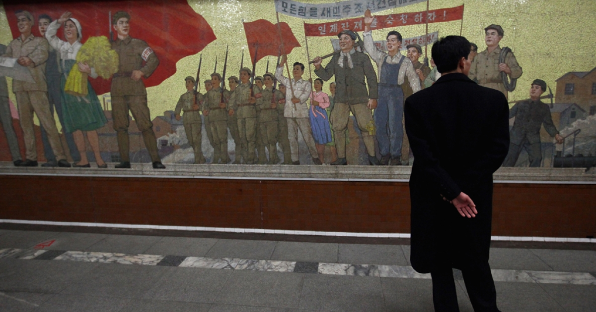 Yongwang Subway station is also an atomic shelter, April 2, 2011 in Pyongyang, North Korea.</p>