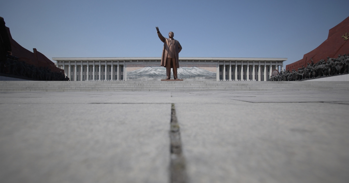 The Immortal Statue of Kim Il Sung monument is seen on April 3, 2011 in Pyongyang, North Korea.</p>